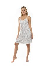 Printed Cotton Nightdress & Robe Set - Grey