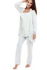 Cotton Printed 3 Piece Pyjama Set with lace details - Grey