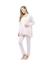 Cotton Printed 3 Piece Pyjama Set with lace details - Pink