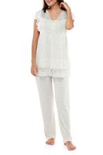 Cotton & Lace Pyjama Set - Beige