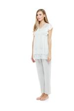 Cotton & Lace Pyjama Set - Grey