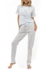 Penguin and Seal Print long Pyjama Set - Blue