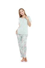 Floral Print long Pyjama Set - Mint