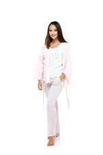 Cotton Stripe Long Pyjama & Cardigan Set - Peach