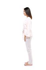 Cotton Stripe Long Pyjama & Cardigan Set - Peach