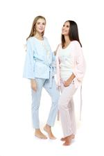 Cotton Stripe Long Pyjama & Cardigan Set - Blue