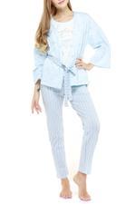 Cotton Stripe Long Pyjama & Cardigan Set - Blue
