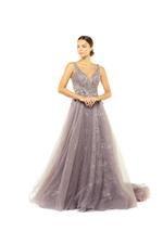French Lace Beaded Gown - Lilac