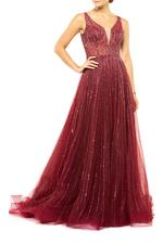 Hand Beaded A-Line Gown - Red