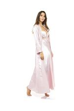 Satin Long Lace & Satin Nightdress & Robe Set - Rose Pink