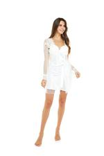 Sweet Pea Bridal Satin & Lace Nightdress & Robe Set - Pure White