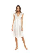 Satin & lace Midi Length Nightdress - Beige