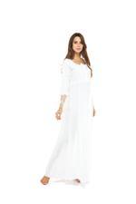 Jaquard Cotton Long Jalabiya - White