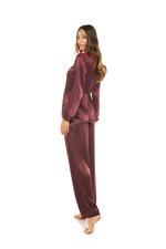 Silky Satin & Lace long Pyjamas - Bordeaux