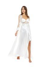 Bridal Satin polkadot & Lace Long Nightdress & Robe Set - White