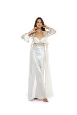 Satin polkadot & Lace Long Nightdress & Robe Set - Beige