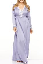 Long Satin and lace jalibiya - Lilac