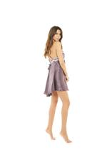 Short Silky Nightdress with Padded Cups- Mauve