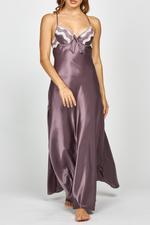 Long Satin Nightdress - Mauve