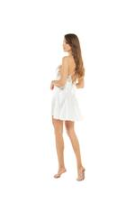 White Satin Short Nightdress with floral lace