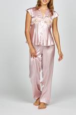 Elegant Embroidered Two piece sleeveless Satin Pyjama - Rose