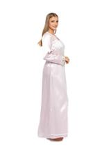 Long Satin Jalabiya with polkadot tulle - Rose Pink