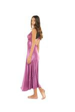 French Style Lace & Silky Satin Long Nightdress - Dark Rose Pink