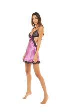 Satin & Lace Open Back Short Nightdress - Dark Rose Pink