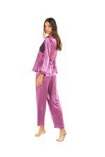 Satin & Lace Long Pyjama Set - Dark Rose Pink