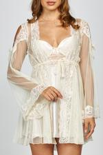Morning Glory Satin Lace & Tulle short Nightdress & Robe set - Beige