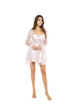 Satin Lace & Tulle short Nightdress & Robe set - Rose Pink