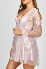 Satin Lace & Tulle short Nightdress & Robe set - Rose Pink