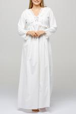 Long Cotton Jalibiya with lace and polkadot detail - White