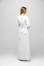 Long Cotton Jalibiya with lace and polkadot detail - Beige