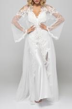 Regal Bridal Satin & Lace Nightdress & Robe Set - White