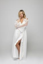 Regal Bridal Satin & Lace Nightdress & Robe Set - White