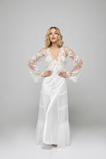 Berry Bridal Satin & Lace Nightdress & Robe Set - White