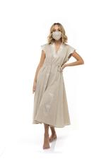 Short sleeves mid length cotton jalabiya with face mask- Beige