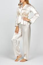 Elegant Embroidered Two piece long sleeve Satin Pyjama - Beige