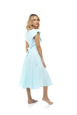 Short Cotton Printed Sleeveless Jalibiya with lace detail - Light Blue