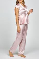 Rosie Satin button down Pyjama - Rose
