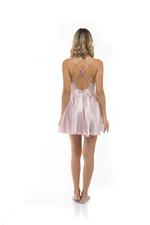 Satin & Lace Short Nightdress - Rose Pink
