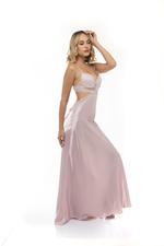 Satin & Lace Long backless Nightdress - Rose Pink
