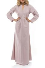 Long Cotton Jalibiya with pleating and front buttons - Rose Pink