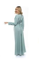 Long Cotton Jalibiya with pleating and front buttons - Green