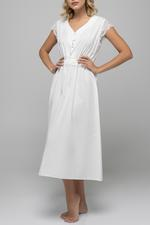 Jaquard Cotton Midi Jalabiya - White