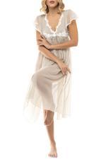 Midi Chiffon Nightdress with lace detail - Beige