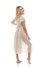 Midi Chiffon Nightdress with lace detail - Beige