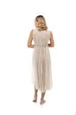 Midi Chiffon Sleeveless Nightdress with lace detail - Beige