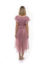 Midi Chiffon Sleeveless Nightdress with lace detail - Rose